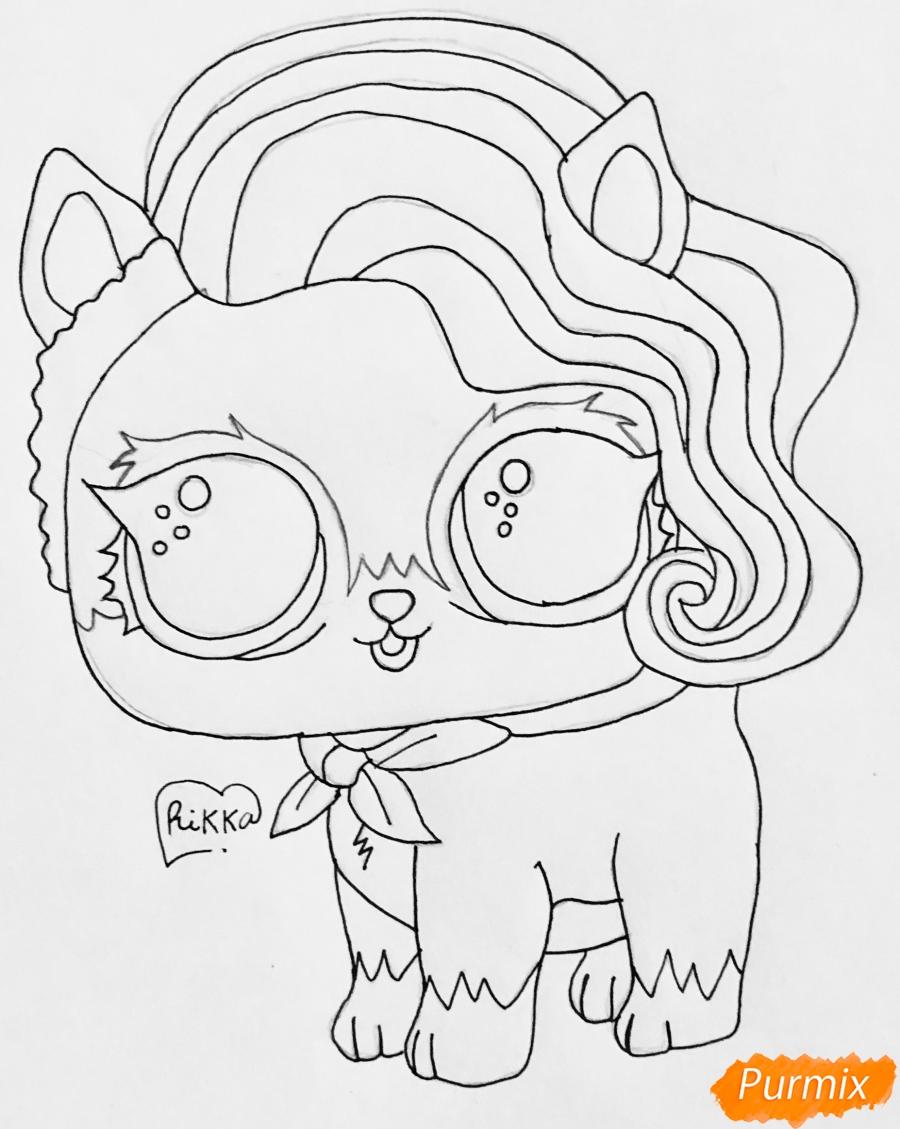 Рисуем волчёнка из мультфильма Lol Pets - шаг 6