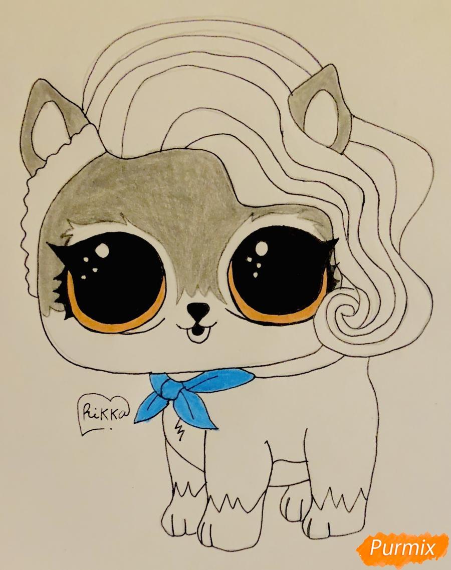 Рисуем волчёнка из мультфильма Lol Pets - шаг 8