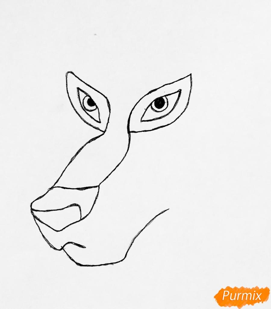 Рисуем волчицу Энаю из мультфильма Балто карандашами - шаг 1