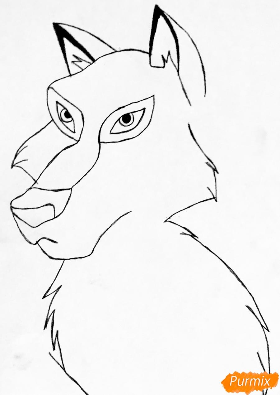 Рисуем волчицу Энаю из мультфильма Балто карандашами - шаг 3