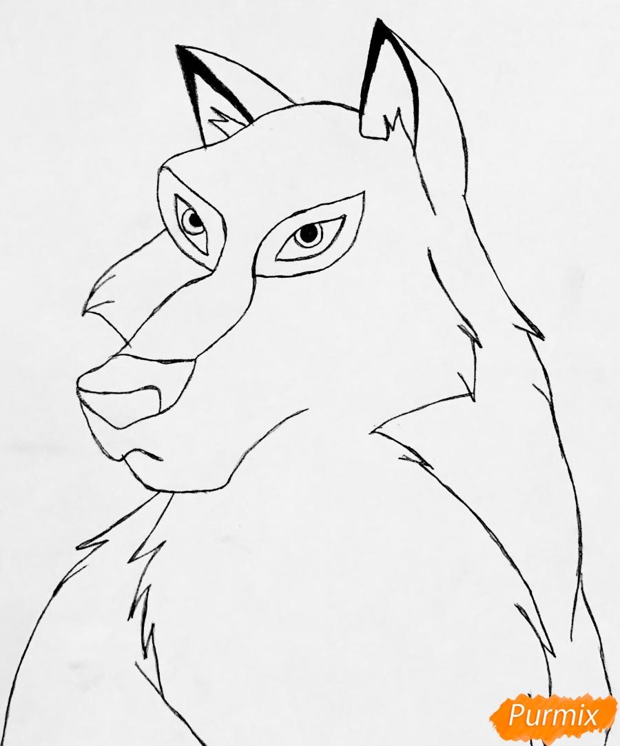 Рисуем волчицу Энаю из мультфильма Балто карандашами - шаг 4
