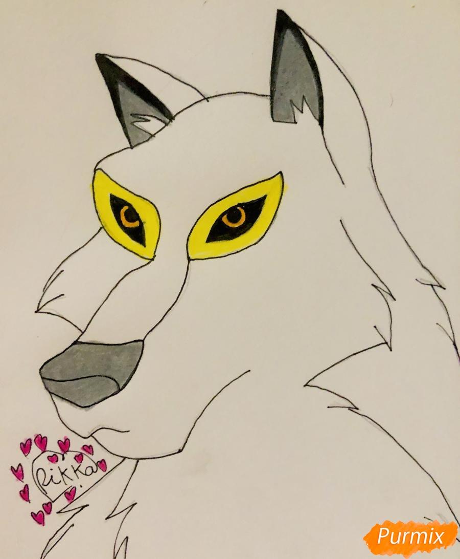 Рисуем волчицу Энаю из мультфильма Балто карандашами - шаг 6