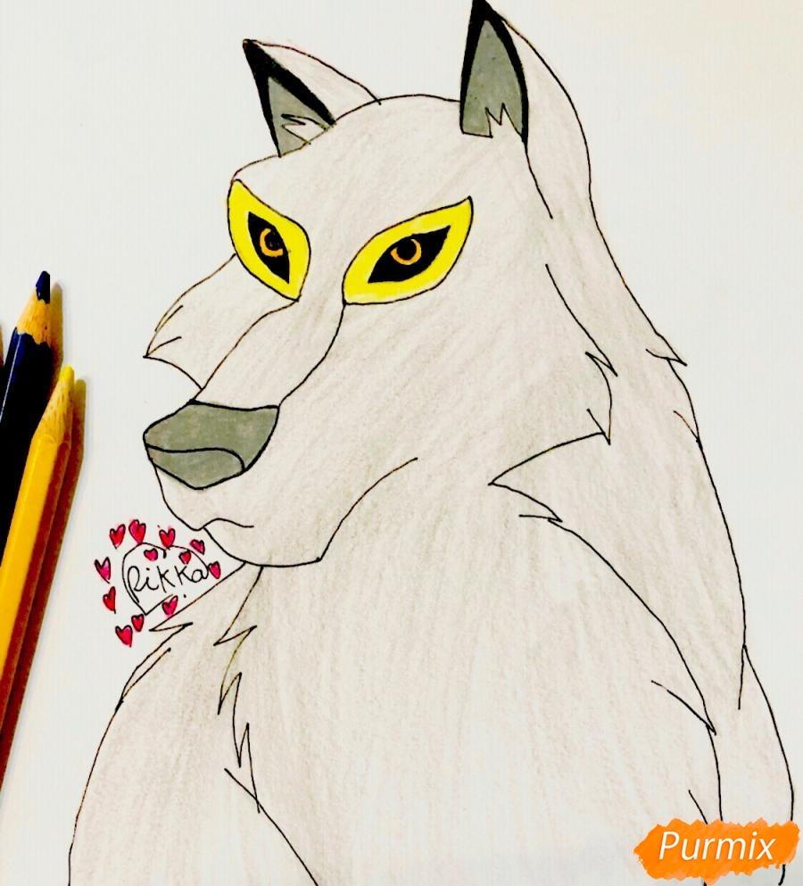 Рисуем волчицу Энаю из мультфильма Балто карандашами - шаг 7