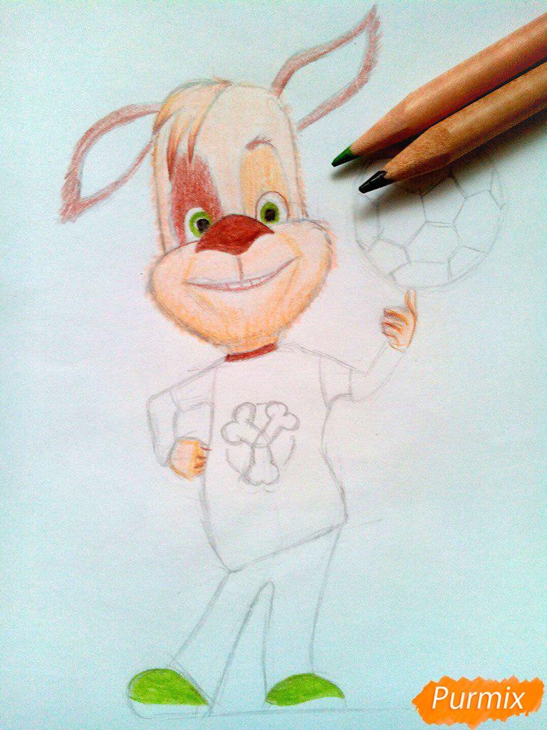 Рисуем Дружка из мультсереала Барбоскины цветными - шаг 10