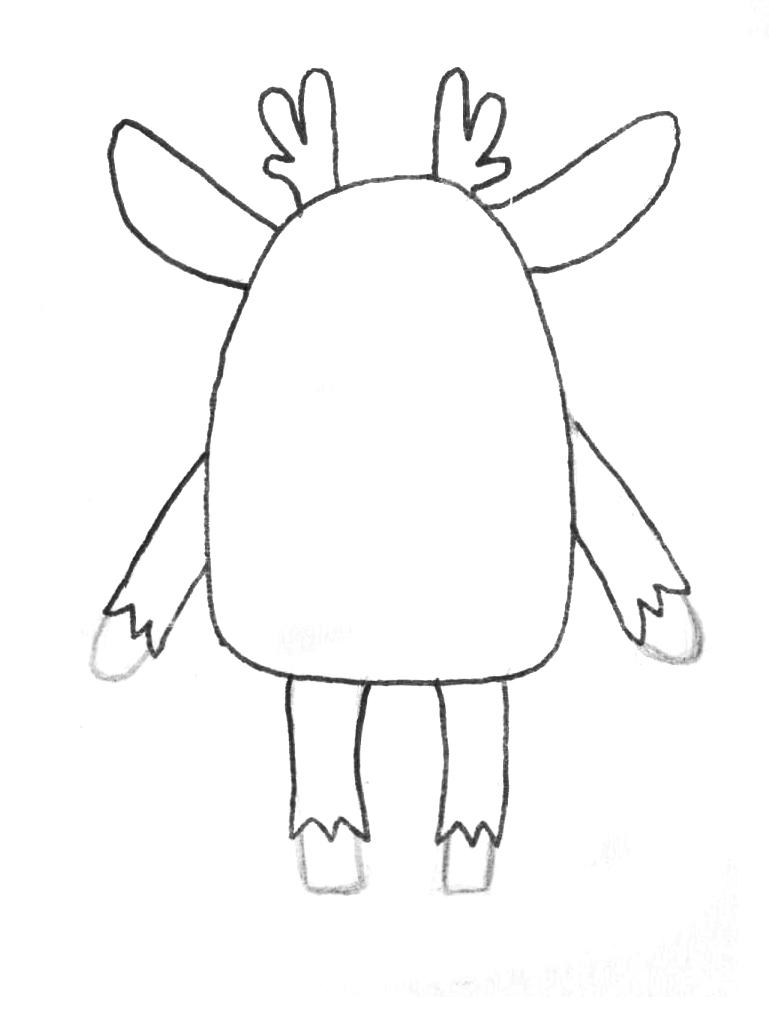 Рисуем мультяшного оленя - шаг 1