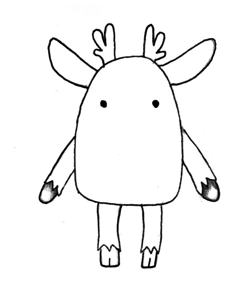 Рисуем мультяшного оленя - шаг 2
