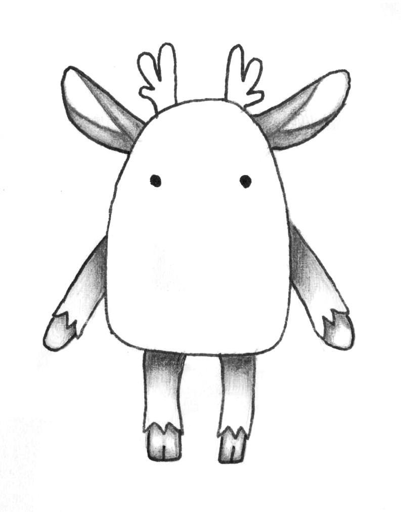 Рисуем мультяшного оленя - шаг 8