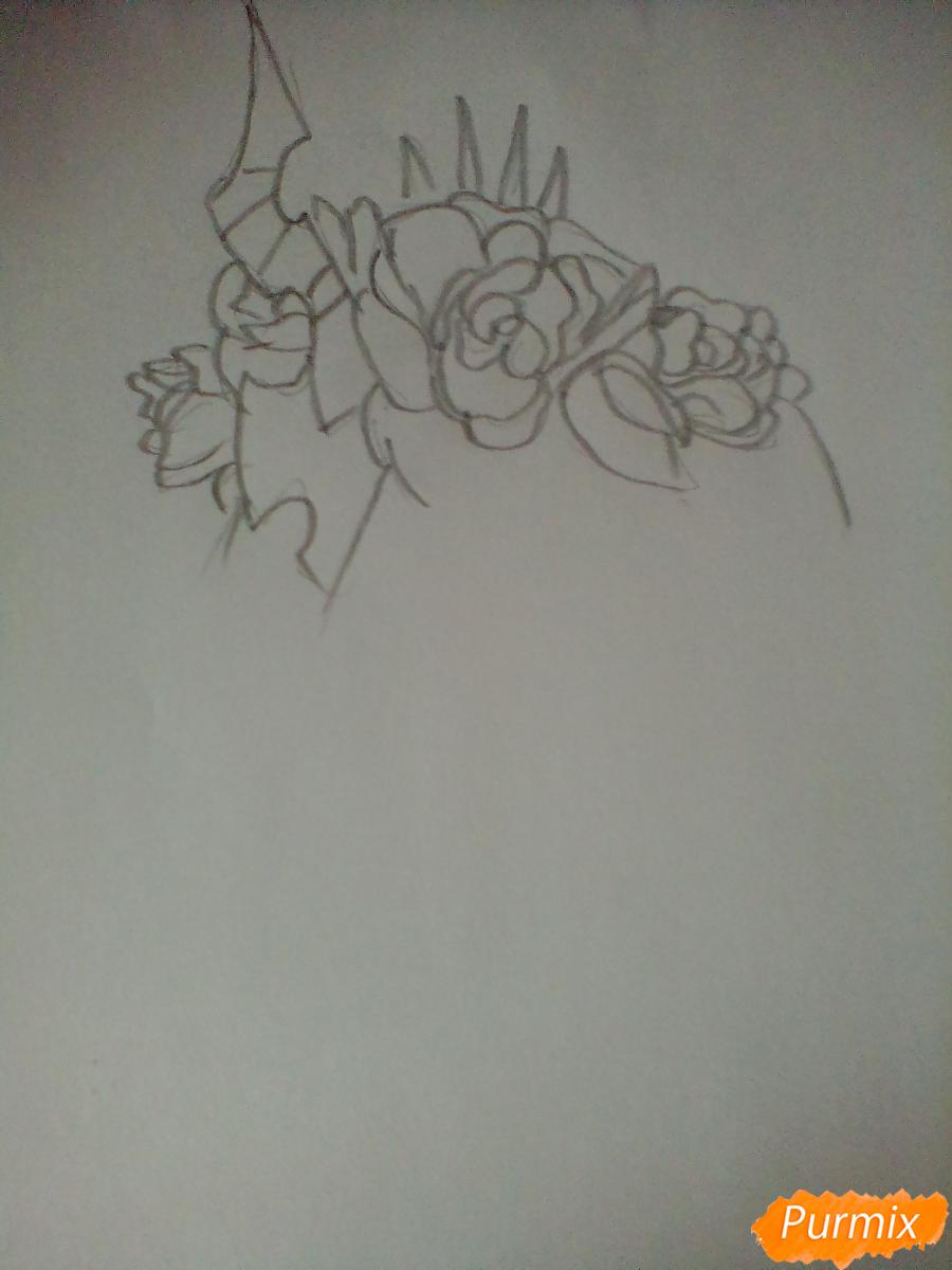 Рисуем Кризалис с цветами - шаг 1