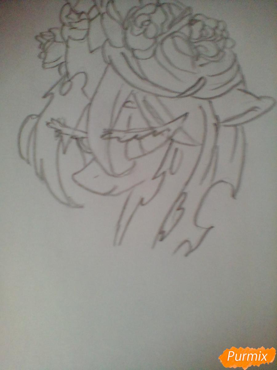 Рисуем Кризалис с цветами - шаг 3