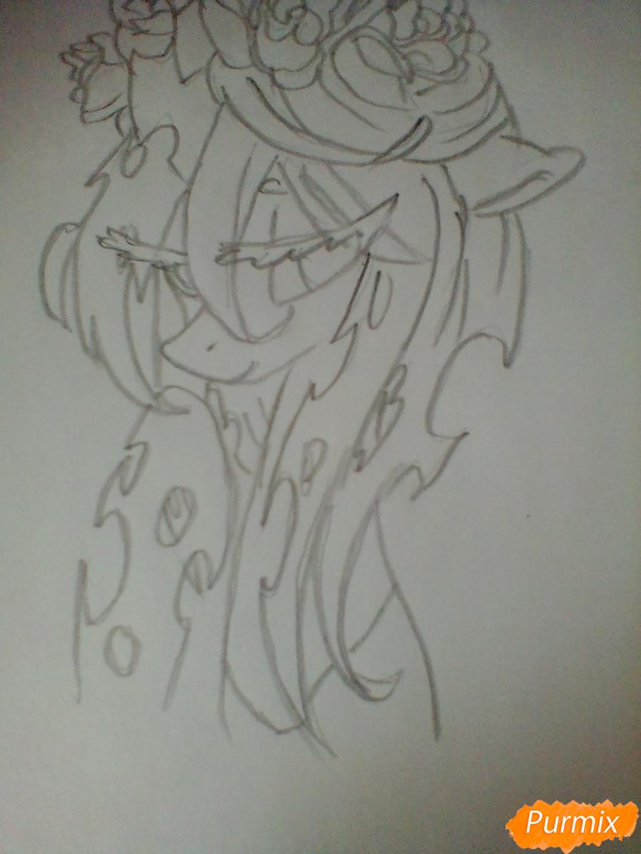 Рисуем Кризалис с цветами - шаг 4