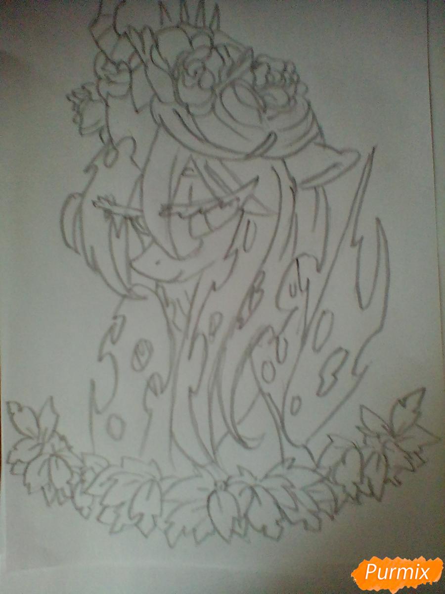 Рисуем Кризалис с цветами - шаг 5