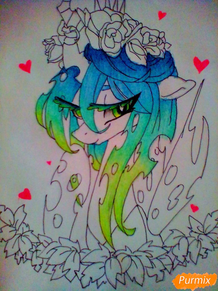 Рисуем Кризалис с цветами - шаг 8