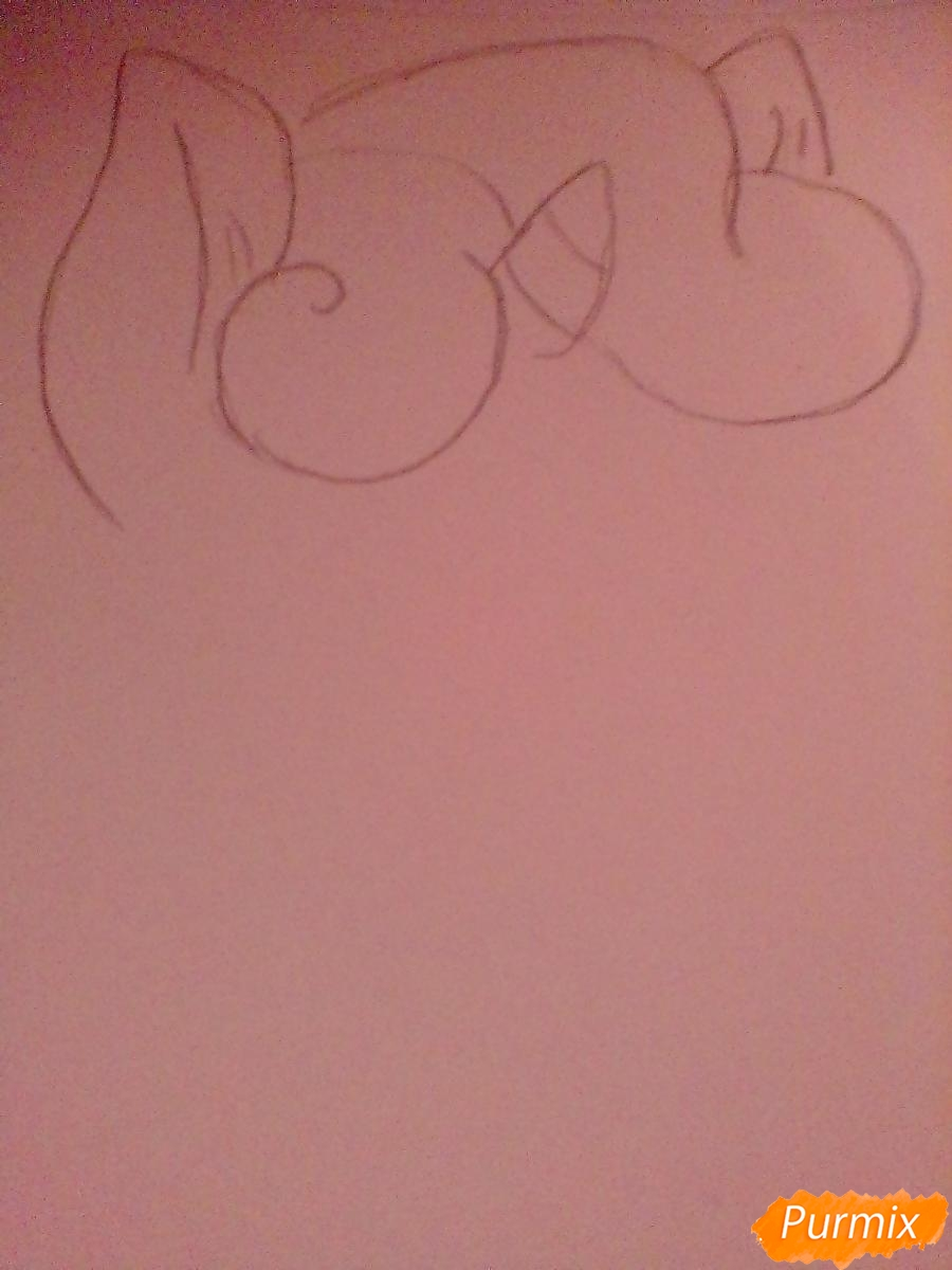 Рисуем Крошку Бель цветными карандашами - шаг 1