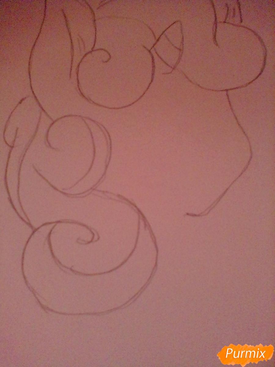 Рисуем Крошку Бель цветными карандашами - шаг 2