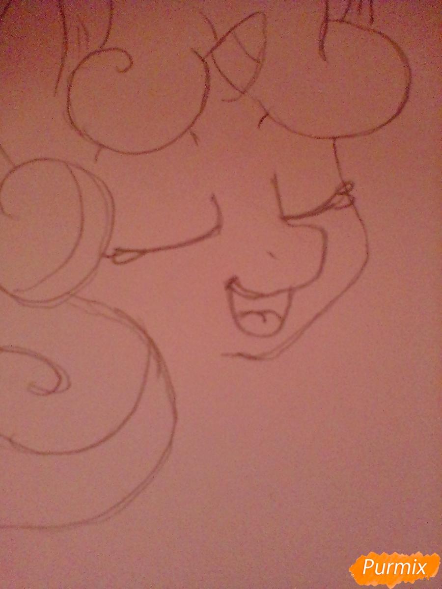 Рисуем Крошку Бель цветными карандашами - шаг 3