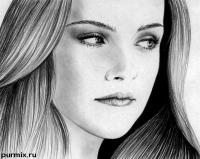 Фото  портрет Кристен Стюарт простым карандашом