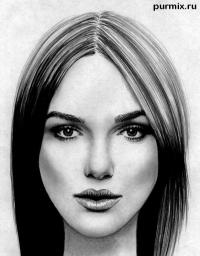 нарисовать портрет Киры Найтли на бумаге шаг за шагом
