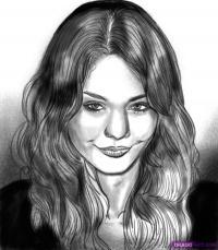 Фото портрет  Ванессы Хадженс карандашом