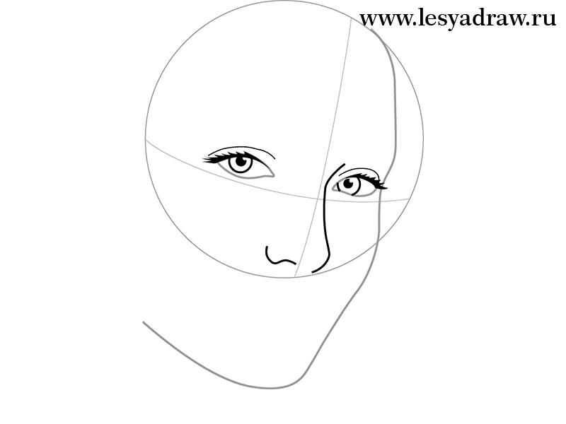 Как просто нарисовать портрет Анджелины Джоли - шаг 2