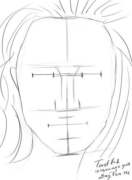 Рисуем портрет Анджелины Джоли - шаг 4