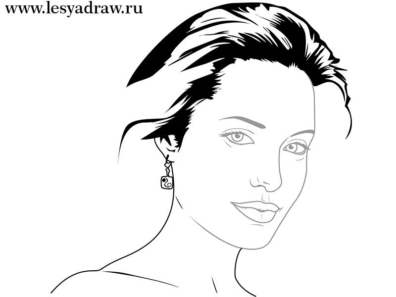 Как просто нарисовать портрет Анджелины Джоли - шаг 4