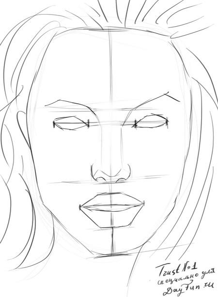 Рисуем портрет Анджелины Джоли - шаг 5