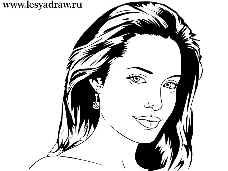 Как просто нарисовать портрет Анджелины Джоли - шаг 6