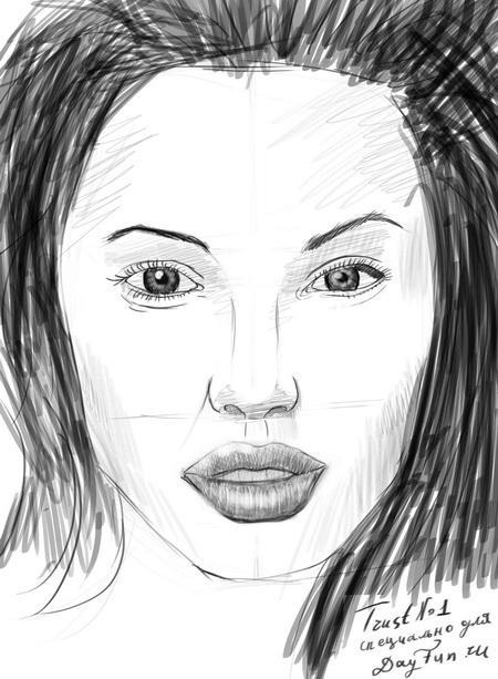 Рисуем портрет Анджелины Джоли - шаг 8