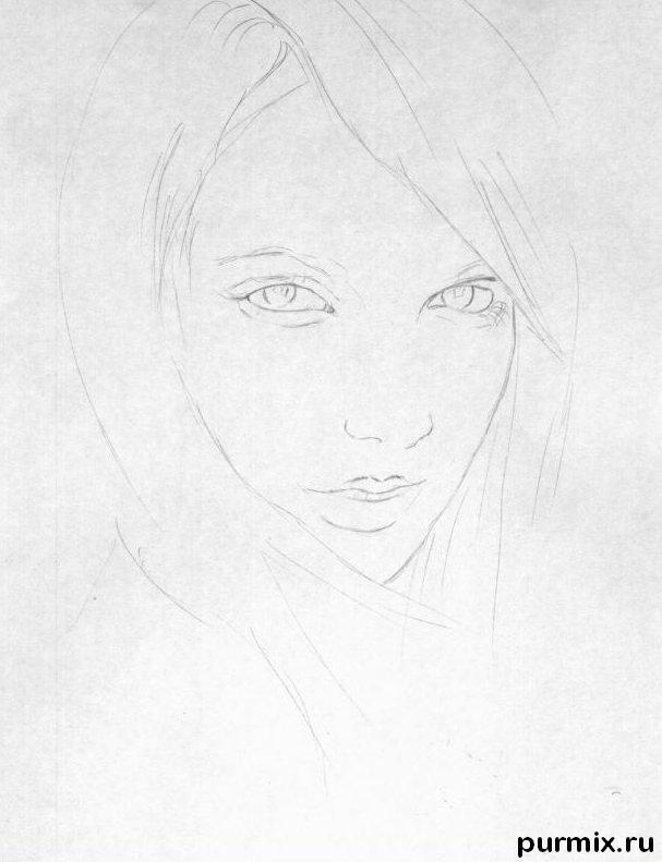 Рисуем портрет Бритни Спирс простым - шаг 1