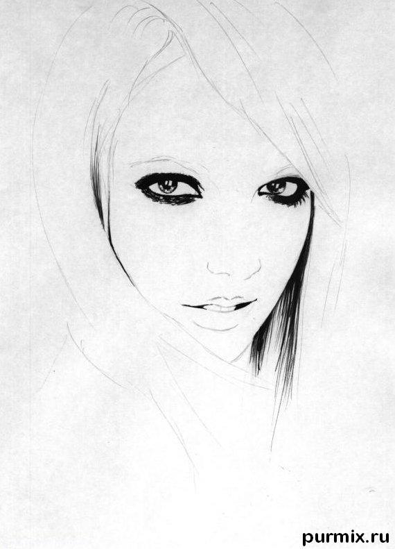 Рисуем портрет Бритни Спирс простым - шаг 2