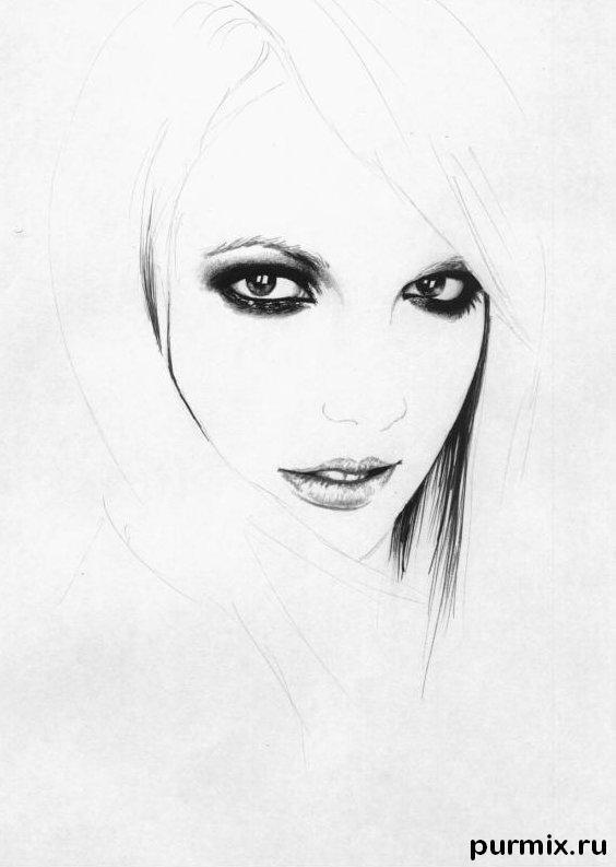 Рисуем портрет Бритни Спирс простым - шаг 3