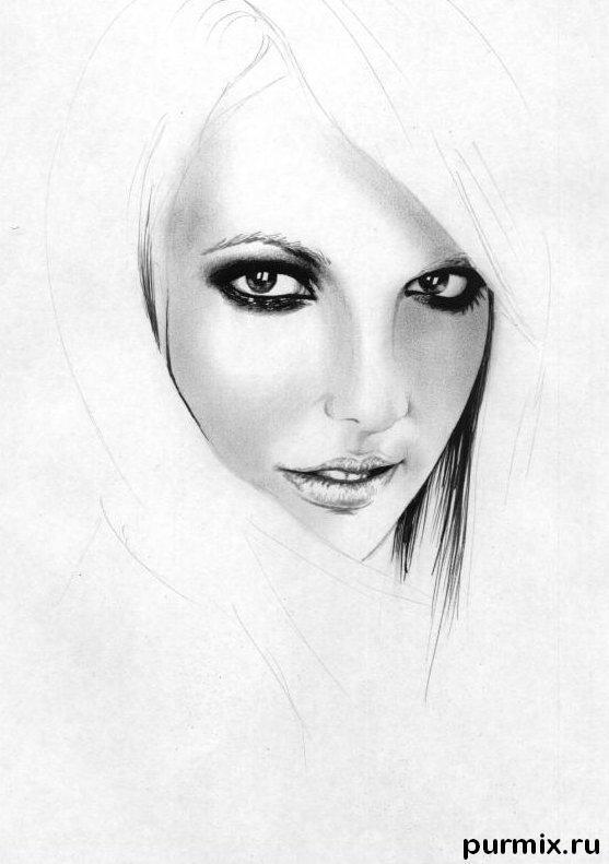 Рисуем портрет Бритни Спирс простым - шаг 4