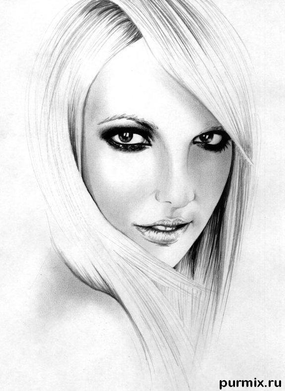 Рисуем портрет Бритни Спирс простым - шаг 5