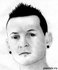 Фото портрет Честера Беннингтона простым карандашом