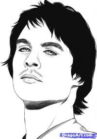 Фото портрет Деймона Сальваторе карандашом