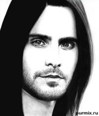 Фото портрет Джареда Лето карандашом