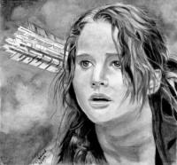 портрет Дженнифер Лоуренс из Голодных игр карандашом