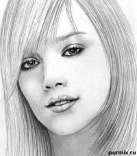портрет Хилари Дафф карандашом