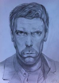 Фото портрет Хью Лори (Доктор Хаус) карандашом