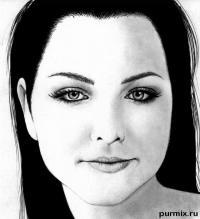 портрет Эми Ли простым карандашом