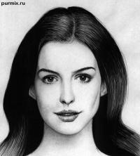 Фото портрет Энн Хэтэуэй простым карандашом