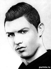 портрет Криштиану Роналду простым карандашом