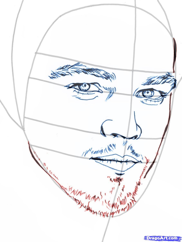 Рисуем портрет Леонардо Ди Каприо   для начинающих - шаг 7