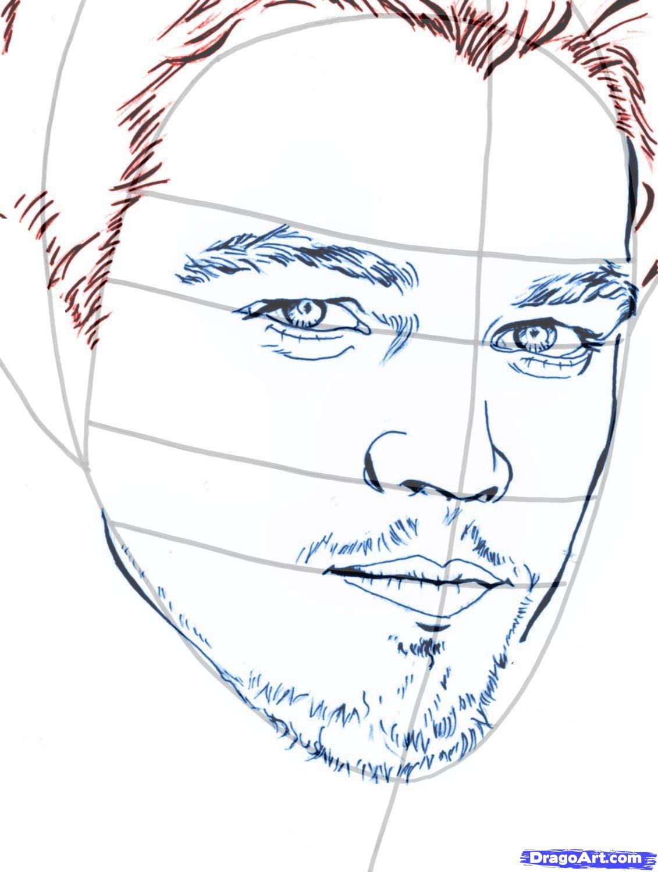 Рисуем портрет Леонардо Ди Каприо   для начинающих - шаг 8