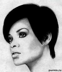 Фото портрет Рианны простым карандашом на бумаге