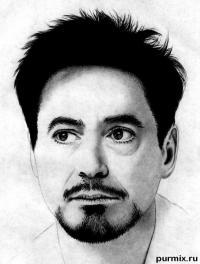 портрет Роберта Дауни мл. простым карандашом