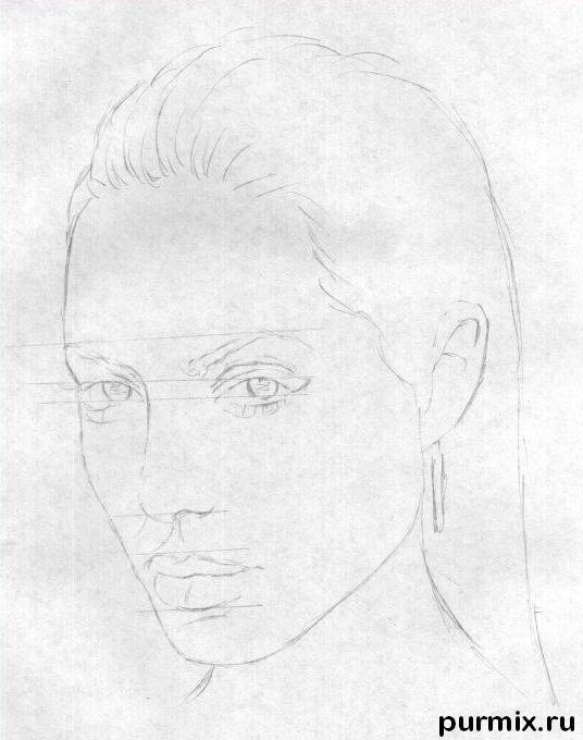 Рисуем Анджелину Джоли  и ручкой - шаг 1