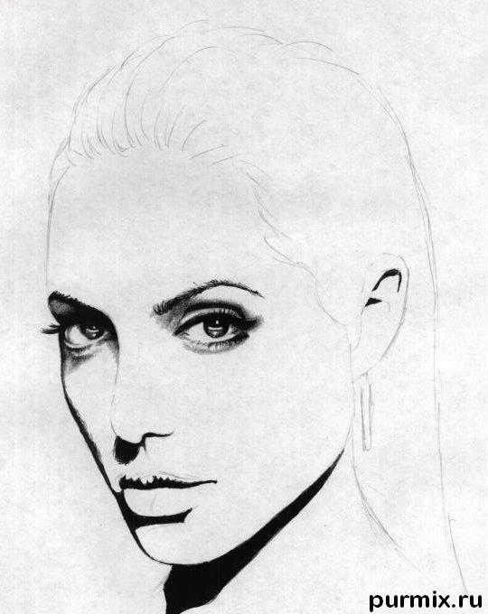 Рисуем Анджелину Джоли  и ручкой - шаг 3