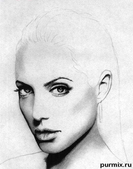 Рисуем Анджелину Джоли  и ручкой - шаг 4