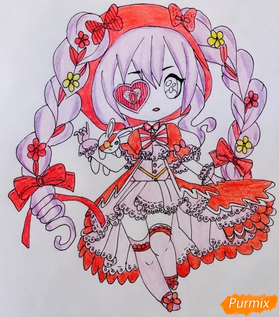 Чиби девочка в образе валентинки с игрушечным кроликом - шаг 12